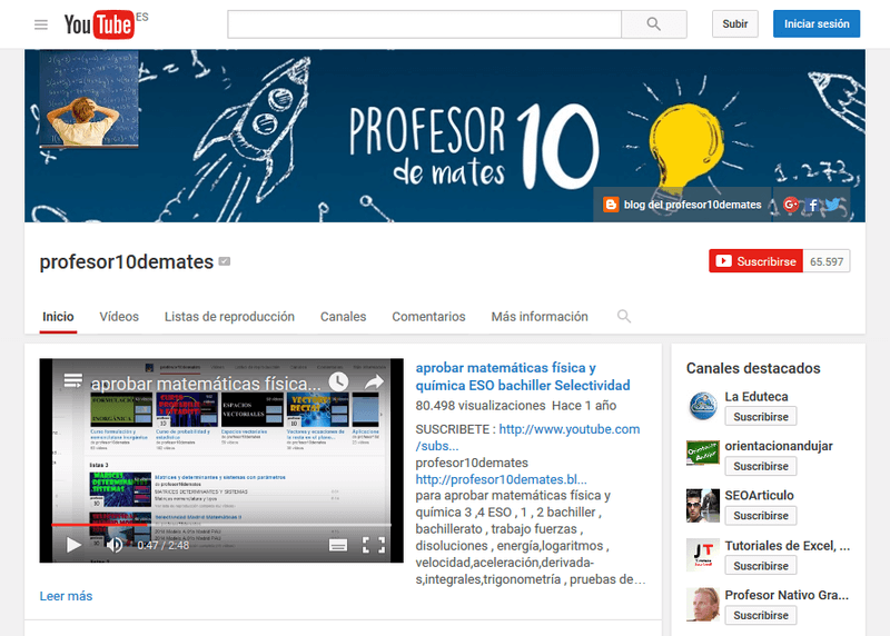 captura canal youtube profesor 10 de mates